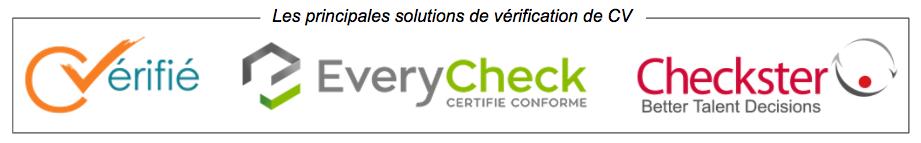 Logos des principales solutions de vérification CV - Cvérifié - Everycheck - Checkster